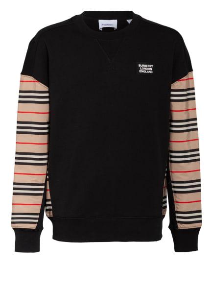 BURBERRY Sweatshirt HAMILTON ICON, Farbe: SCHWARZ/ BEIGE/ ROT (Bild 1)