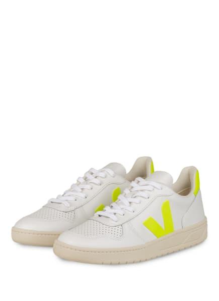 VEJA Sneaker V-10, Farbe: WEISS/ NEONGELB (Bild 1)