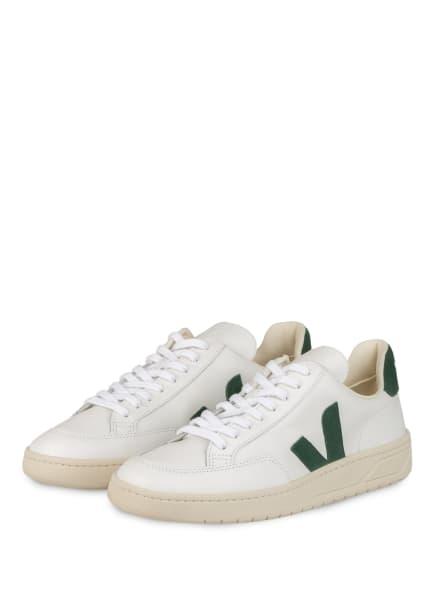 VEJA Sneaker V-12, Farbe: WEISS/ DUNKELGRÜN (Bild 1)