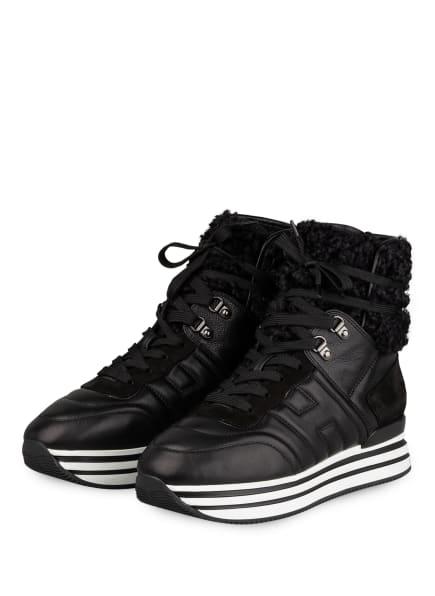 HOGAN Hightop-Sneaker H483 mit Kunstfellbesatz, Farbe: SCHWARZ (Bild 1)