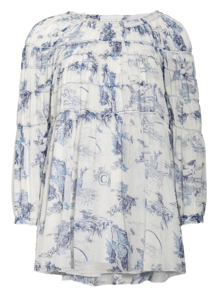 Chloé Kleid mit Seide, Farbe: WEISS/ BLAU/ DUNKELBLAU (Bild 1)