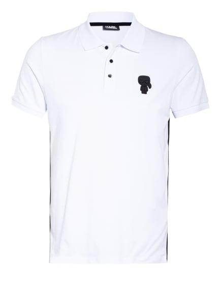 KARL LAGERFELD Jersey-Poloshirt mit Galonstreifen, Farbe: WEISS (Bild 1)