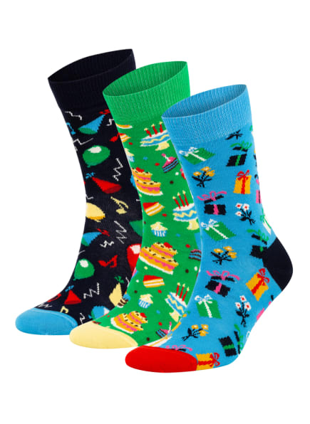 Happy Socks 3er-Pack Strümpfe, Farbe: DUNKELBLAU/ GRÜN/ BLAU (Bild 1)