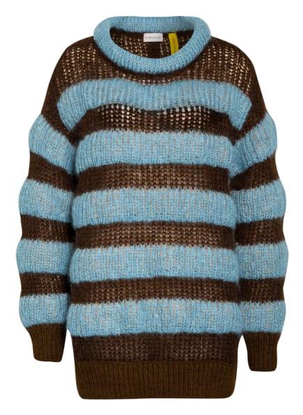 MONCLER GENIUS Pullover mit Mohair und Alpaka, Farbe: BRAUN/ HELLBLAU (Bild 1)