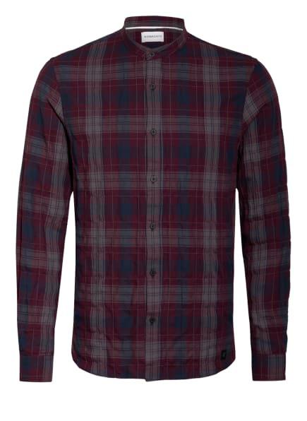 NOWADAYS Hemd GRANDDAD Regular Fit mit Stehkragen, Farbe: DUNKELROT/ BLAU/ GRAU (Bild 1)