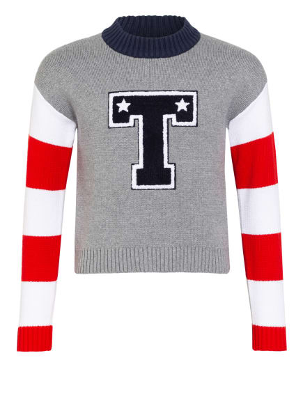 TOMMY HILFIGER Pullover, Farbe: GRAU/ ROT/ WEISS (Bild 1)