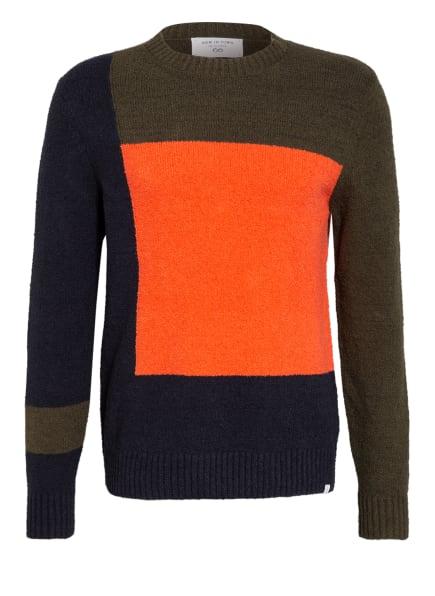 NEW IN TOWN Pullover, Farbe: DUNKELBLAU/ GRÜN/ LACHS (Bild 1)