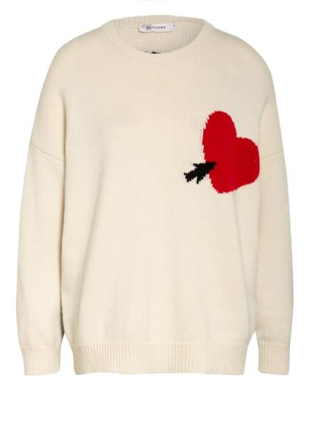 NERVURE Oversized-Pullover aus Cashmere, Farbe: WEISS/ SCHWARZ/ ROT (Bild 1)