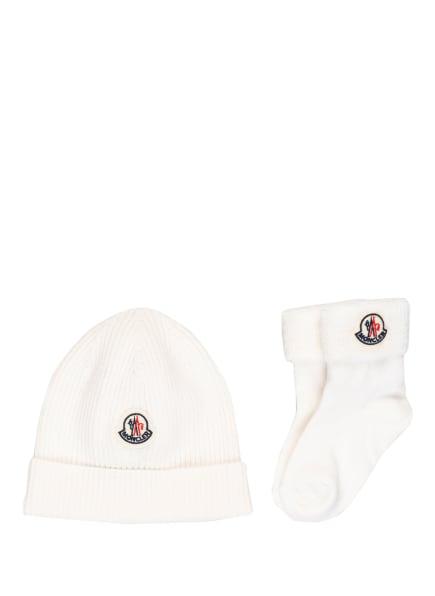 MONCLER enfant Set: Mütze und Socken, Farbe: CREME (Bild 1)