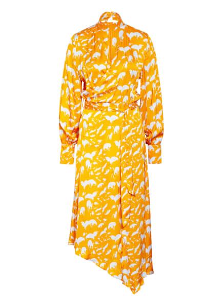 MYKKE HOFMANN Kleid in Wickeloptik, Farbe: ORANGE/ HELLGRAU (Bild 1)
