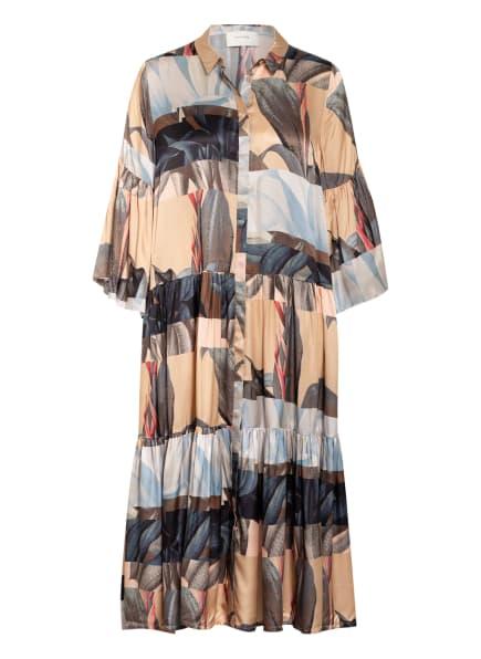 MUNTHE Hemdblusenkleid LATELY mit Seide, Farbe: BEIGE/ DUNKELBLAU/ HELLBLAU (Bild 1)