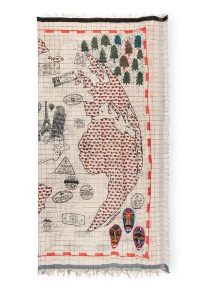 STORI ATIPIC Tuch EAU mit Paillettenbesatz, Farbe: CREME/ BLAUGRAU/ ROT (Bild 1)