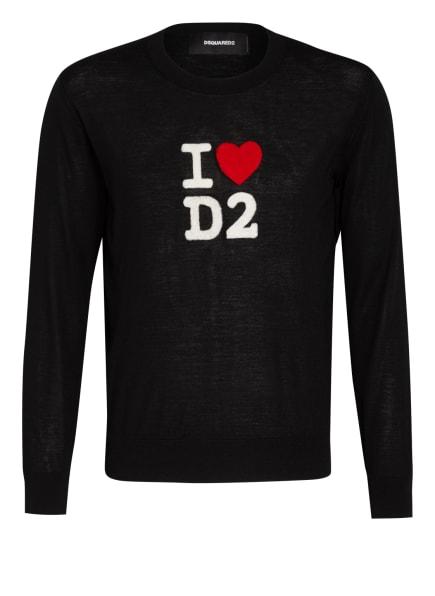 DSQUARED2 Pullover, Farbe: SCHWARZ/ ROT/ WEISS (Bild 1)