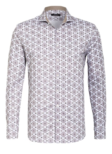 DESOTO Jerseyhemd LUXURY Slim Fit, Farbe: WEISS/ TAUPE/ HELLBLAU (Bild 1)