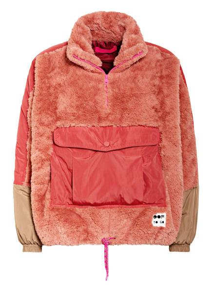 OOF Wear Schlupfjacke aus Kunstfell, Farbe: LACHS/ BEIGE/ HELLROT (Bild 1)