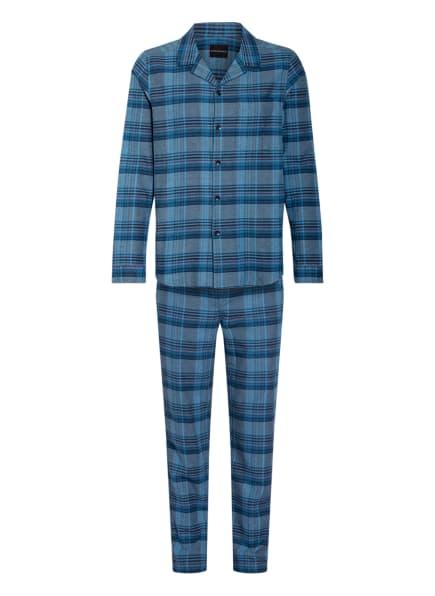 SCHIESSER Flanell-Schlafanzug, Farbe: BLAU/ SCHWARZ/ ROT (Bild 1)