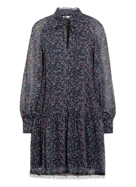 SEE BY CHLOÉ Kleid mit Volant-Besatz, Farbe: DUNKELBLAU/ LILA/ PETROL (Bild 1)