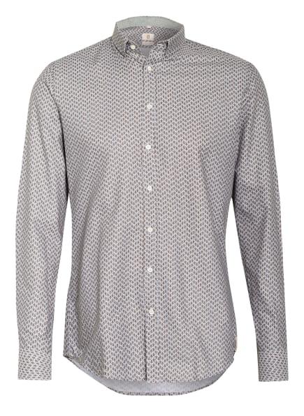 Q1 Manufaktur Hemd Slim Fit, Farbe: TAUPE/ WEISS/ DUNKELBLAU (Bild 1)