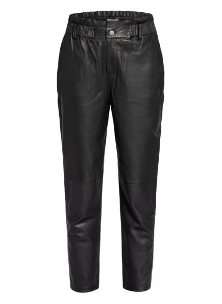 Berenice Paperbag-Hose aus Leder, Farbe: SCHWARZ (Bild 1)