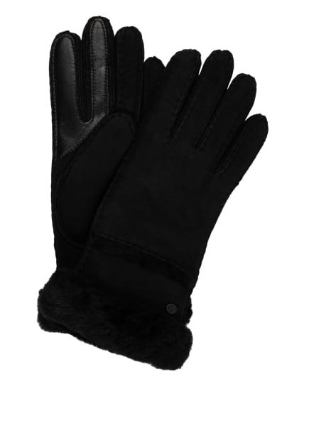 UGG Lederhandschuhe SEAMED TECH mit Echtfell und Touchscreen-Funktion, Farbe: SCHWARZ (Bild 1)