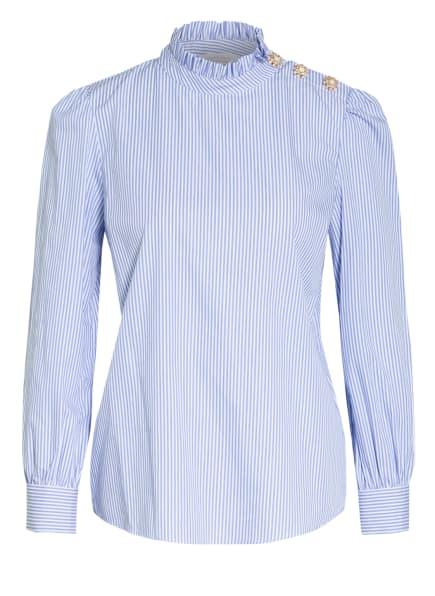 rich&royal Blusenshirt mit Schmuckstein- und Rüschenbesatz, Farbe: WEISS/ HELLBLAU (Bild 1)
