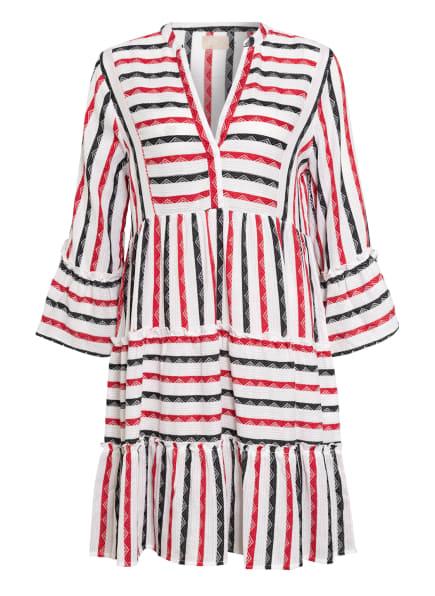 Mrs & HUGS Kleid mit 3/4-Arm und Volantbesatz, Farbe: WEISS/ SCHWARZ/ ROT (Bild 1)