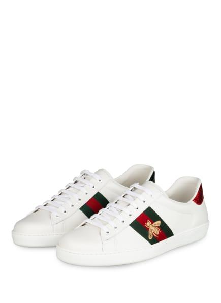 GUCCI Sneaker ACE , Farbe: WEISS/ GRÜN/ ROT (Bild 1)