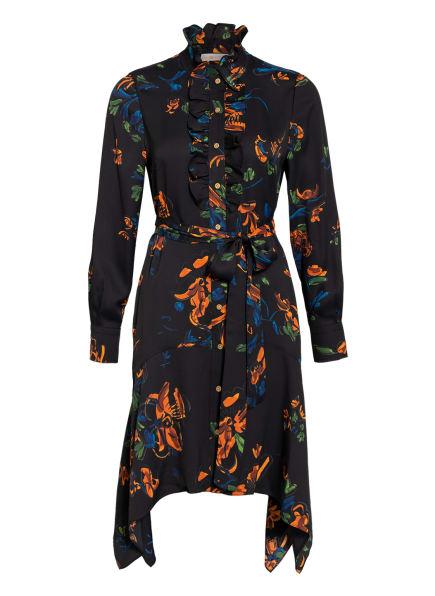 TORY BURCH Kleid mit Volantbesatz, Farbe: SCHWARZ/ GRÜN/ ORANGE (Bild 1)