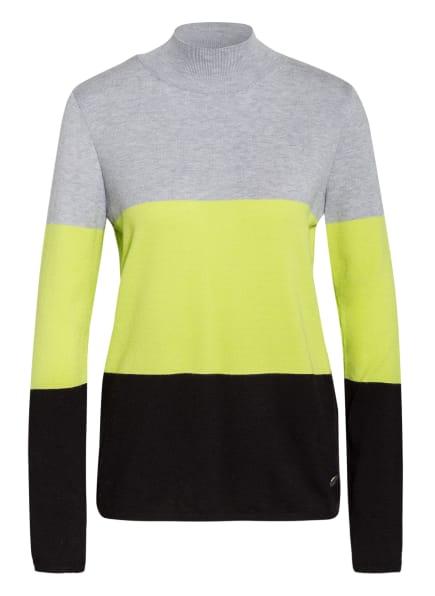 KEY LARGO Pullover BOOM, Farbe: HELLGRAU/ NEONGRÜN/ SCHWARZ (Bild 1)