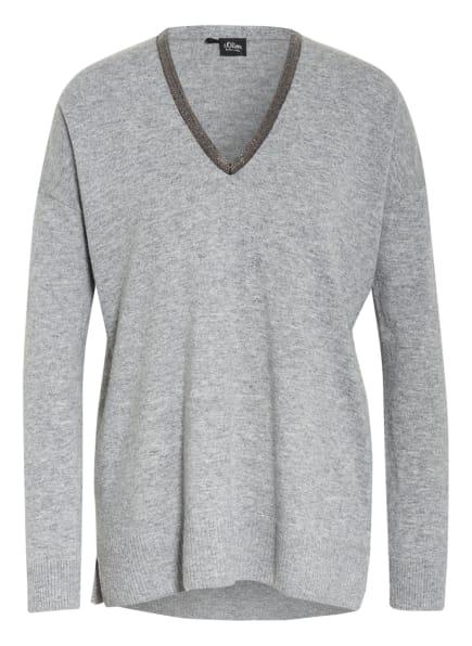 s.Oliver BLACK LABEL Pullover mit Strasssteinbesatz, Farbe: HELLGRAU (Bild 1)