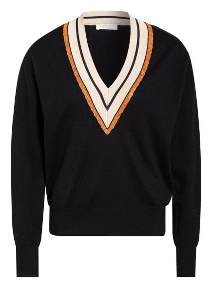 sandro Pullover, Farbe: SCHWARZ/ BEIGE/ DUNKELORANGE (Bild 1)