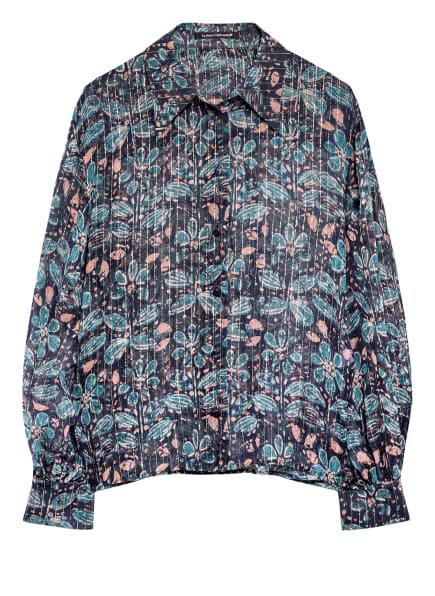LUISA CERANO Hemdbluse aus Seide, Farbe: DUNKELBLAU/ ROSÉ/ HELLBLAU (Bild 1)