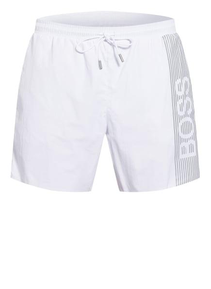 BOSS Badeshorts ICEFISH, Farbe: WEISS/ SILBER (Bild 1)