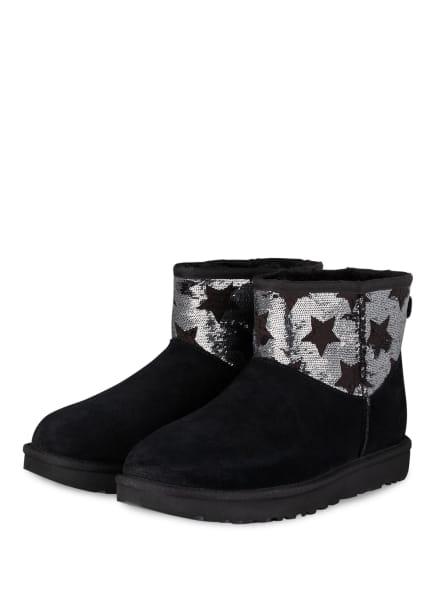UGG Boots CLASSIC MINI mit Paillettenbesatz, Farbe: SCHWARZ (Bild 1)