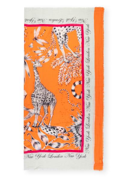 MALA ALISHA Tuch PRAIRIE mit Leinen , Farbe: ORANGE/ SCHWARZ/ WEISS (Bild 1)