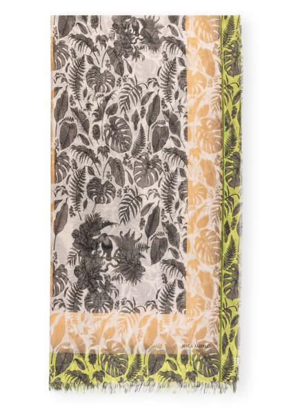 MALA ALISHA Schal PHUKET mit Leinen , Farbe: WEISS/ SCHWARZ/ GELB (Bild 1)