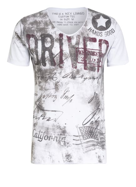 KEY LARGO T-Shirt mit Nietenbesatz, Farbe: WEISS/ TAUPE (Bild 1)