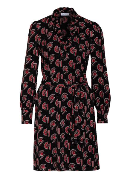 CLAUDIE PIERLOT Kleid RUMBA mit Rüschenbesatz, Farbe: SCHWARZ/ ROT (Bild 1)