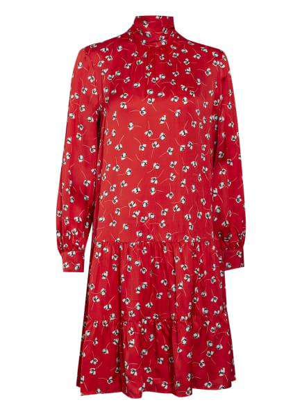 oui Schluppenkleid mit Volantbesatz, Farbe: ROT/ HELLGRAU/ SCHWARZ (Bild 1)