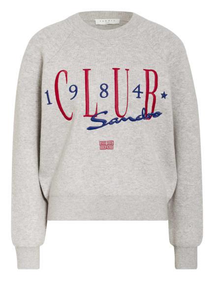 sandro Pullover, Farbe: GRAU/ WEISS/ DUNKELROT (Bild 1)