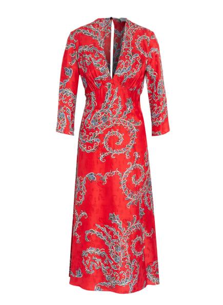 sandro Kleid mit Seide, Farbe: ROT/ WEISS/ DUNKELGRÜN (Bild 1)
