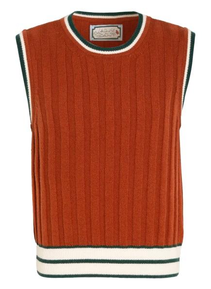 GANT Cashmere-Pullunder, Farbe: DUNKELORANGE/ DUNKELGRÜN/ CREME (Bild 1)