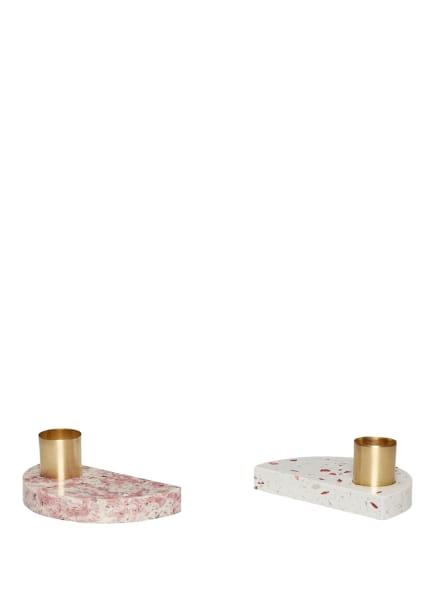 HÜBSCH 2er-Set Kerzenhalter, Farbe: ROSÉ/ WEISS/ CAMEL (Bild 1)