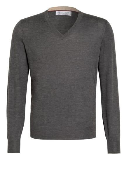 BRUNELLO CUCINELLI Cashmere-Pullover mit Seide, Farbe: GRAU (Bild 1)