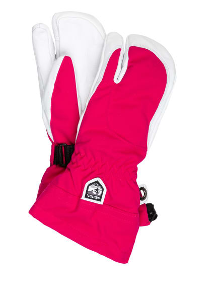 HESTRA 3-Finger-Skihandschuhe ARMY LEATHER HELI, Farbe: PINK/ WEISS (Bild 1)