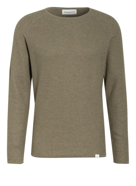 NOWADAYS Pullover THE HONEYCOMB , Farbe: OLIV/ TAUPE (Bild 1)