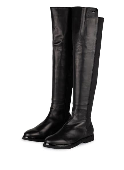 AGL Overknee-Stiefel im Materialmix, Farbe: SCHWARZ (Bild 1)
