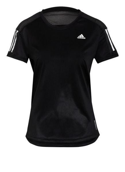 adidas Laufshirt OWN THE RUN mit Mesh-Einsätzen, Farbe: SCHWARZ/ WEISS (Bild 1)