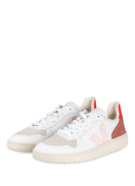VEJA Sneaker V10, Farbe: WEISS/ BEIGE/ PINK (Bild 1)