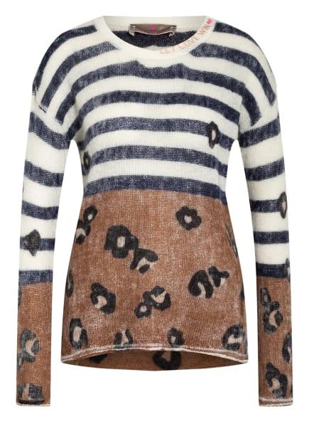 LIEBLINGSSTÜCK Pullover mit Mohair, Farbe: WEISS/ DUNKELBRAUN/ DUNKELBLAU (Bild 1)